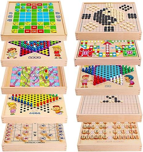 Juegos de Mesa para niños Backgammon Multiuso Puzzle Infantil de ajedrez 10 Volar En 1 Entre Padres e Hijos Juguete Juego de ajedrez Juego por diversión (Color : True Color, Size :
