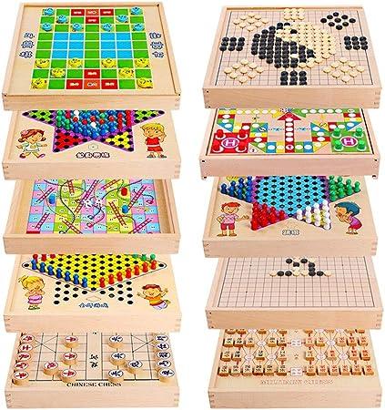 Juegos de Mesa para niños Backgammon Multiuso Puzzle Infantil de ajedrez 10 Volar En 1 Entre