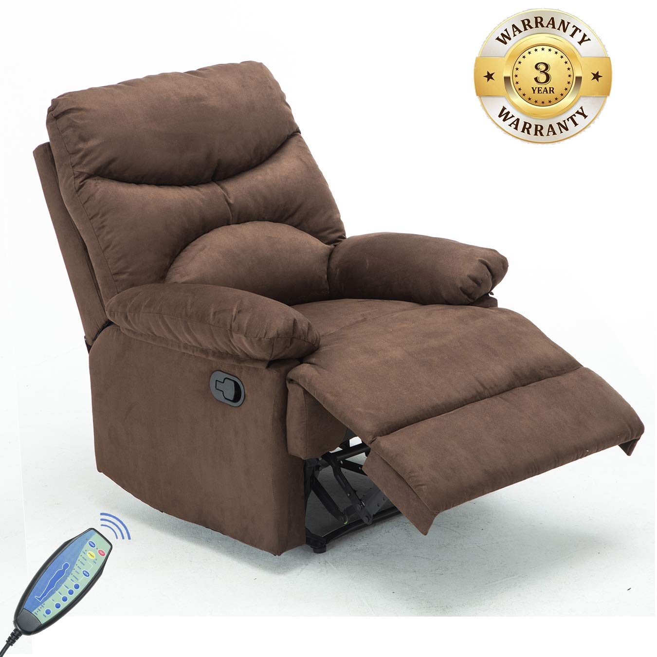Windaze Recliner Chair, Massage Heat Lounge Sofa Chair Microfiber Ergonomic for Living Room Brown