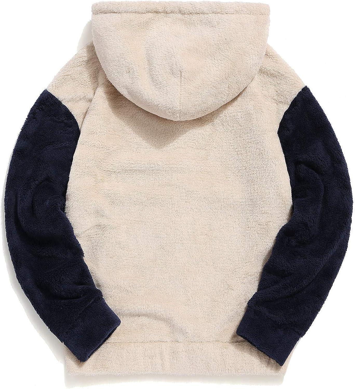 ZAFUL Mens Color Block Patchwork Fuzzy Sherpa Pullover Drawstring Hoodie Sweatshirt