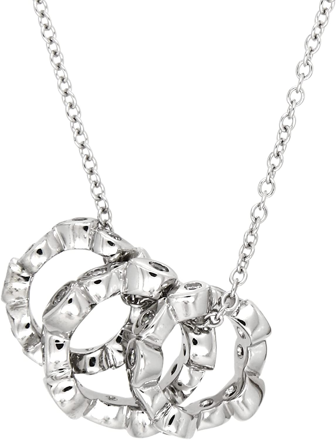 Gift Sterling Silver Rhodium-Plated with CZ Infinity w// 2 in EXT Necklace