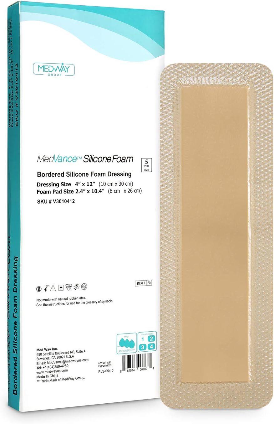 MedVanceTM Silicona - Apósito de espuma adhesiva de silicona con borde Tamaño 10 cm x 30 cm (almohadilla de 6 cm x 26 cm), caja de 5 apósitos: Amazon.es: Salud y cuidado personal