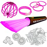 """100 Glow Sticks PINK. Premium-Class Factory-Fresh brightly colored. 8"""". 100 bracelet / necklace Connectors, 1 Glow Ball / flower Kit. Latest Generation!"""