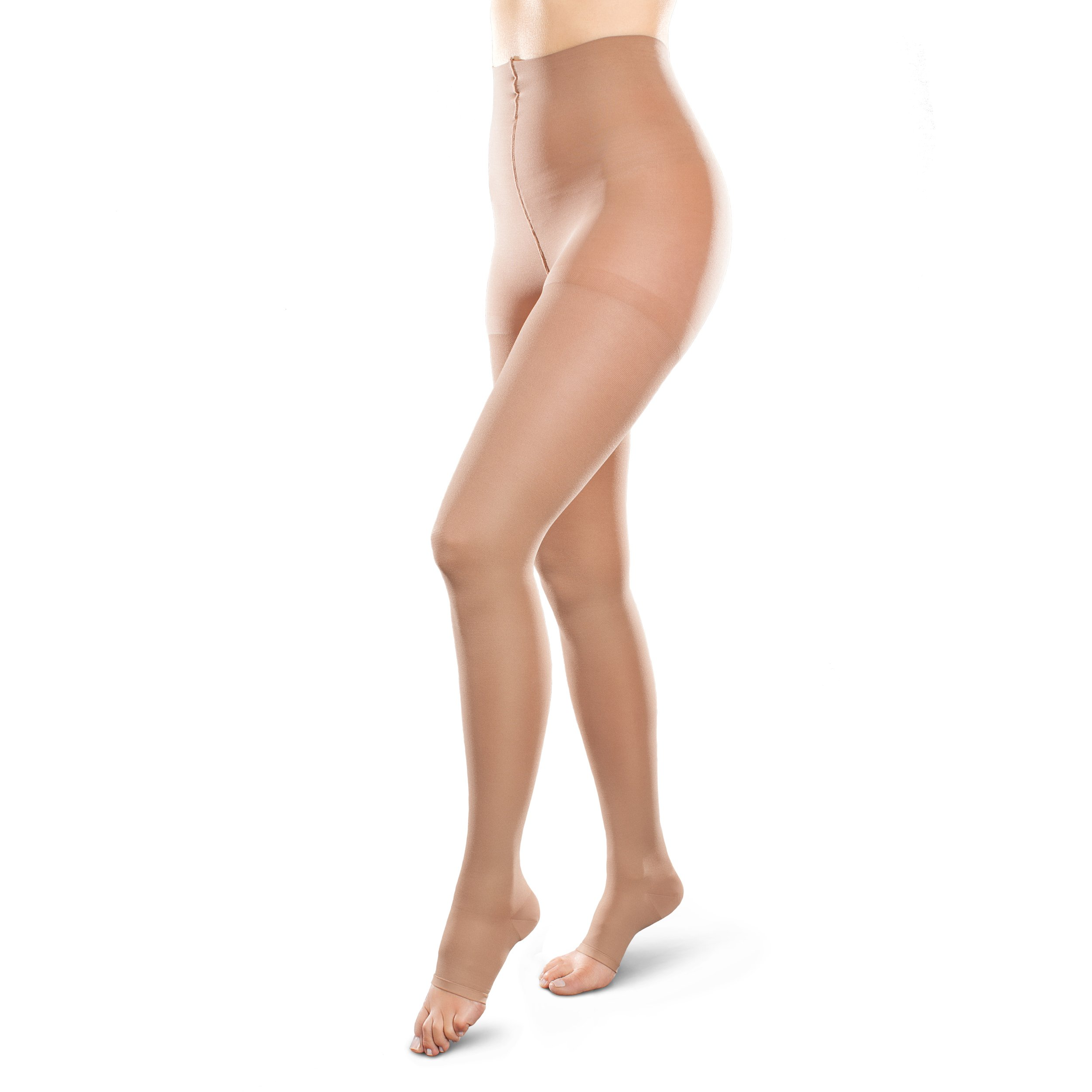 Therafirm Opaque Open-Toe Waist Highs - 30-40mmHg Firm Compression Stockings (Sand, Small Long) by Therafirm (Image #1)