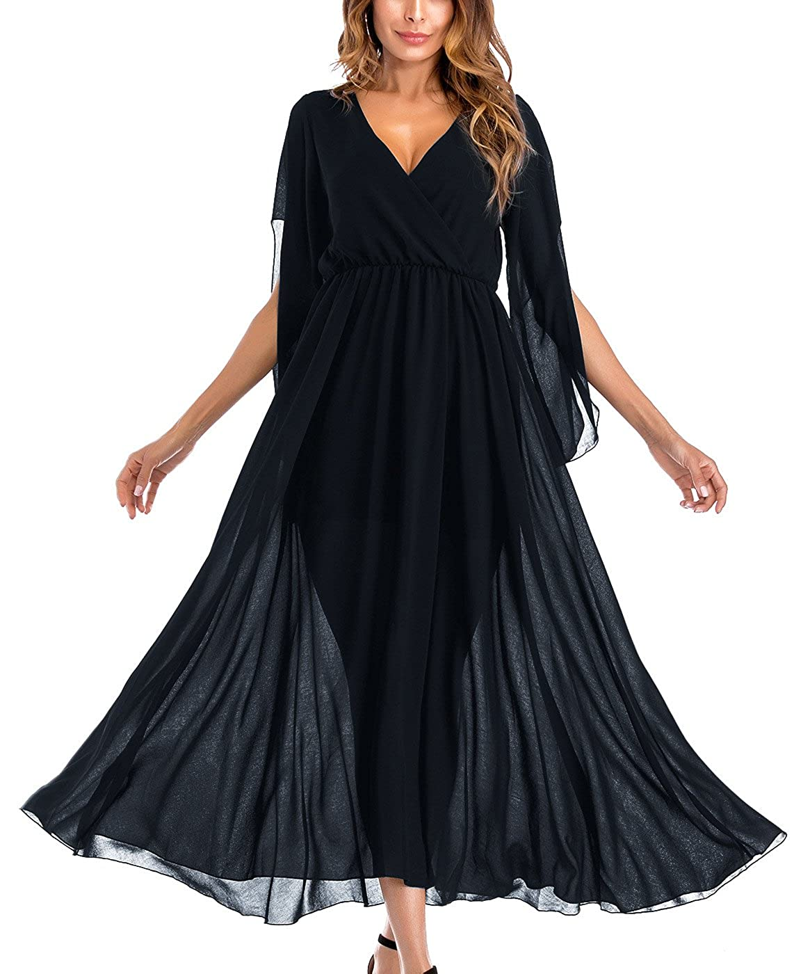 d834f1f586 FEOYA Women's Chiffon Maxi Dresses 3/4 Sleeve Evening Dresses V-Neck ...
