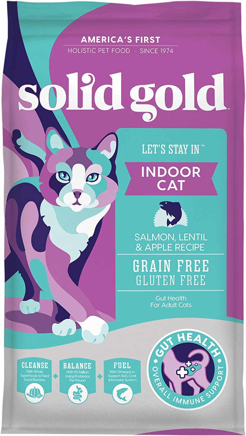 7. Solid Gold Let's Stay In Salmon, Lentil & Apple Recipe for Adult Indoor Cats