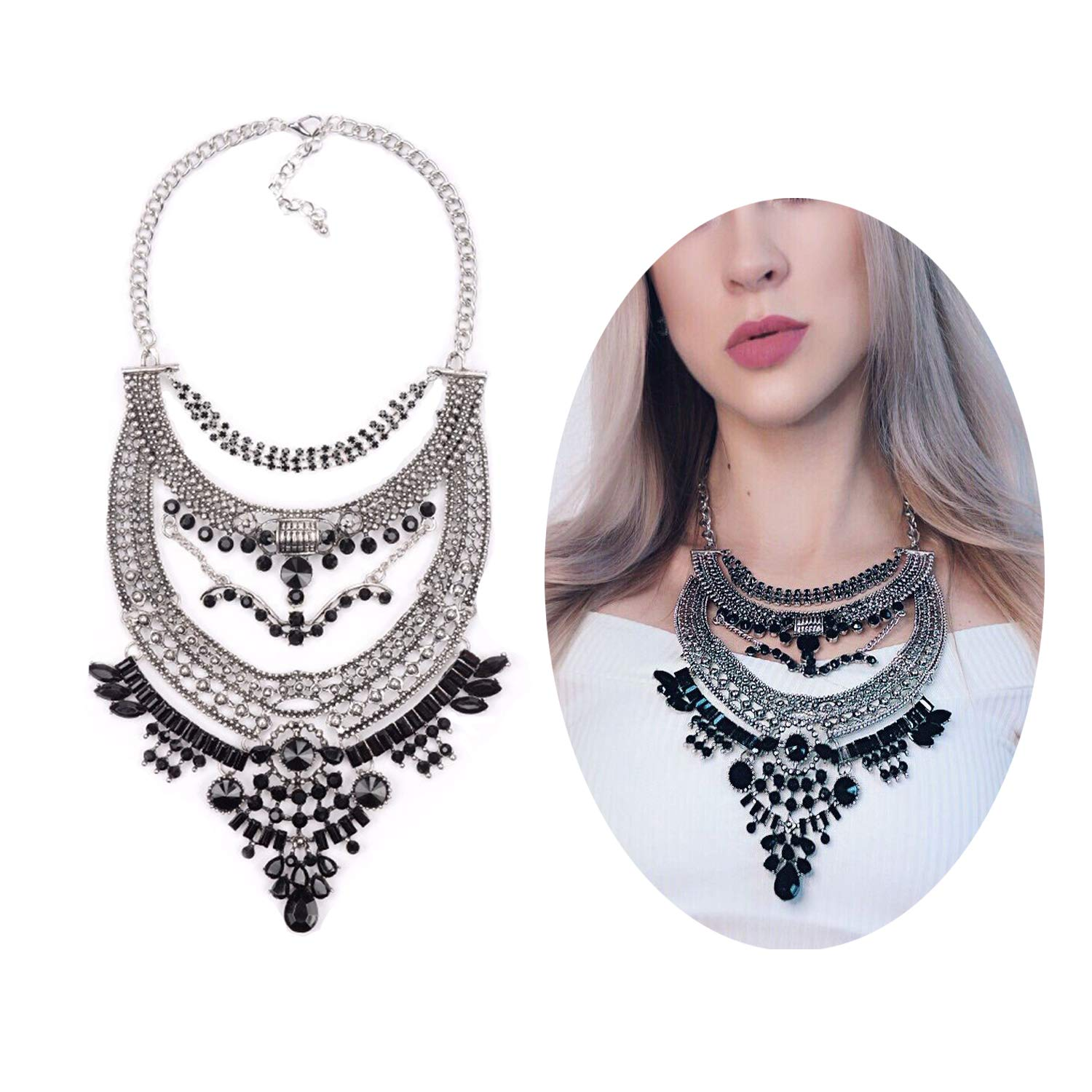 KissYan Statement Necklace Glamorous Over The Top Statement Jewelry White and Black Stone Mixed Tone