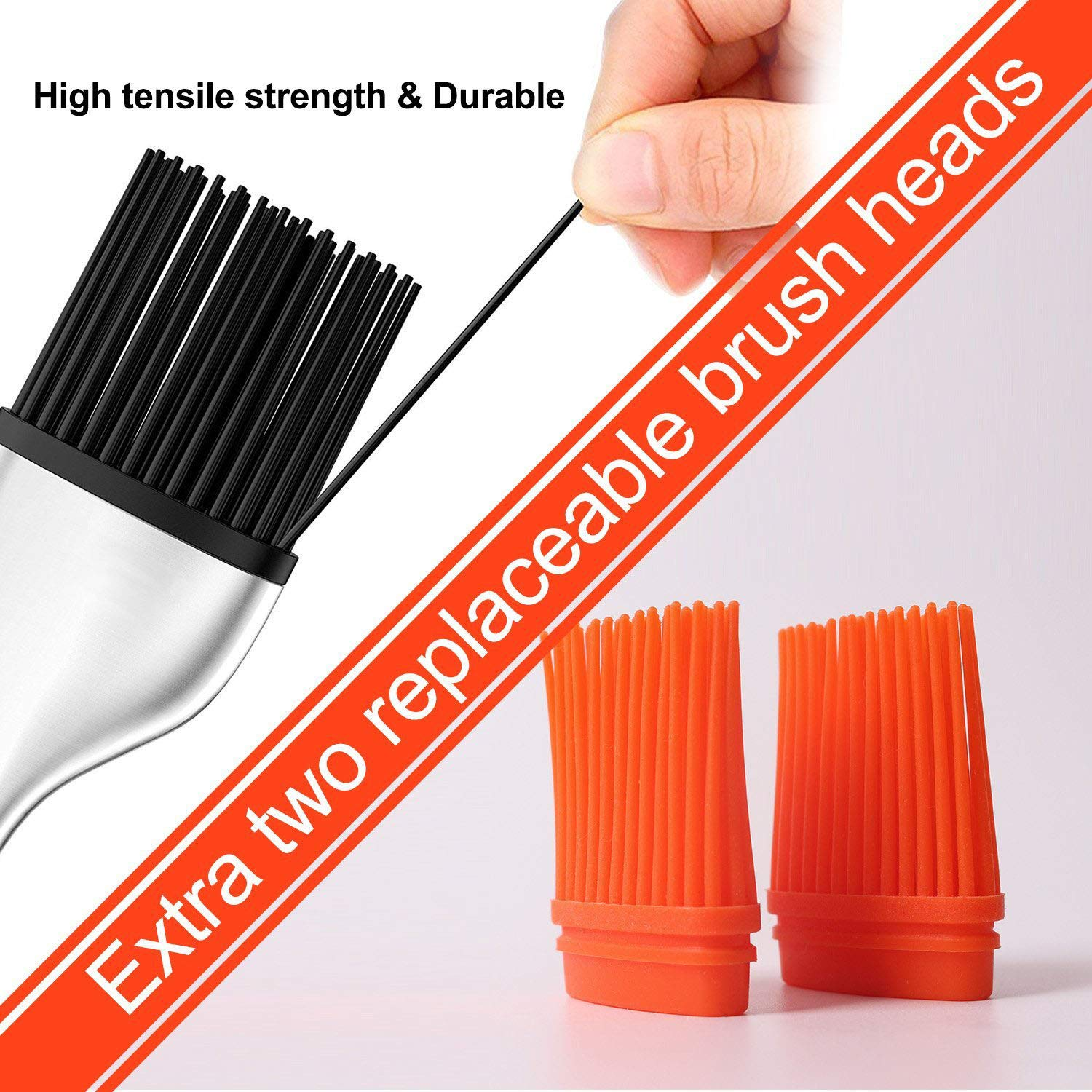 Pastry Brush Great for BBQ Meat Grill ONWON Set of 2 Silicone Basting Brush with Extra 2 Replaceable Bruch Heads Cakes and Pastries BBQ Brush