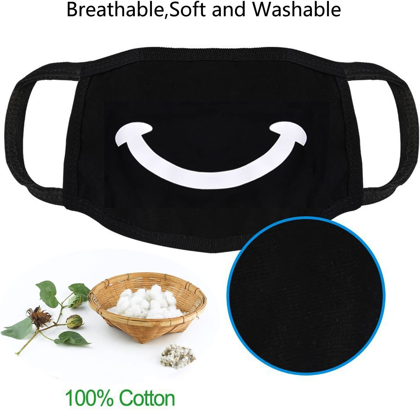 Mouth Mask,Aniwon 9PCS Cute Anti Dust Cotton Face Mask Unisex Kpop Mask Anime Face Mask for Men Women Kids