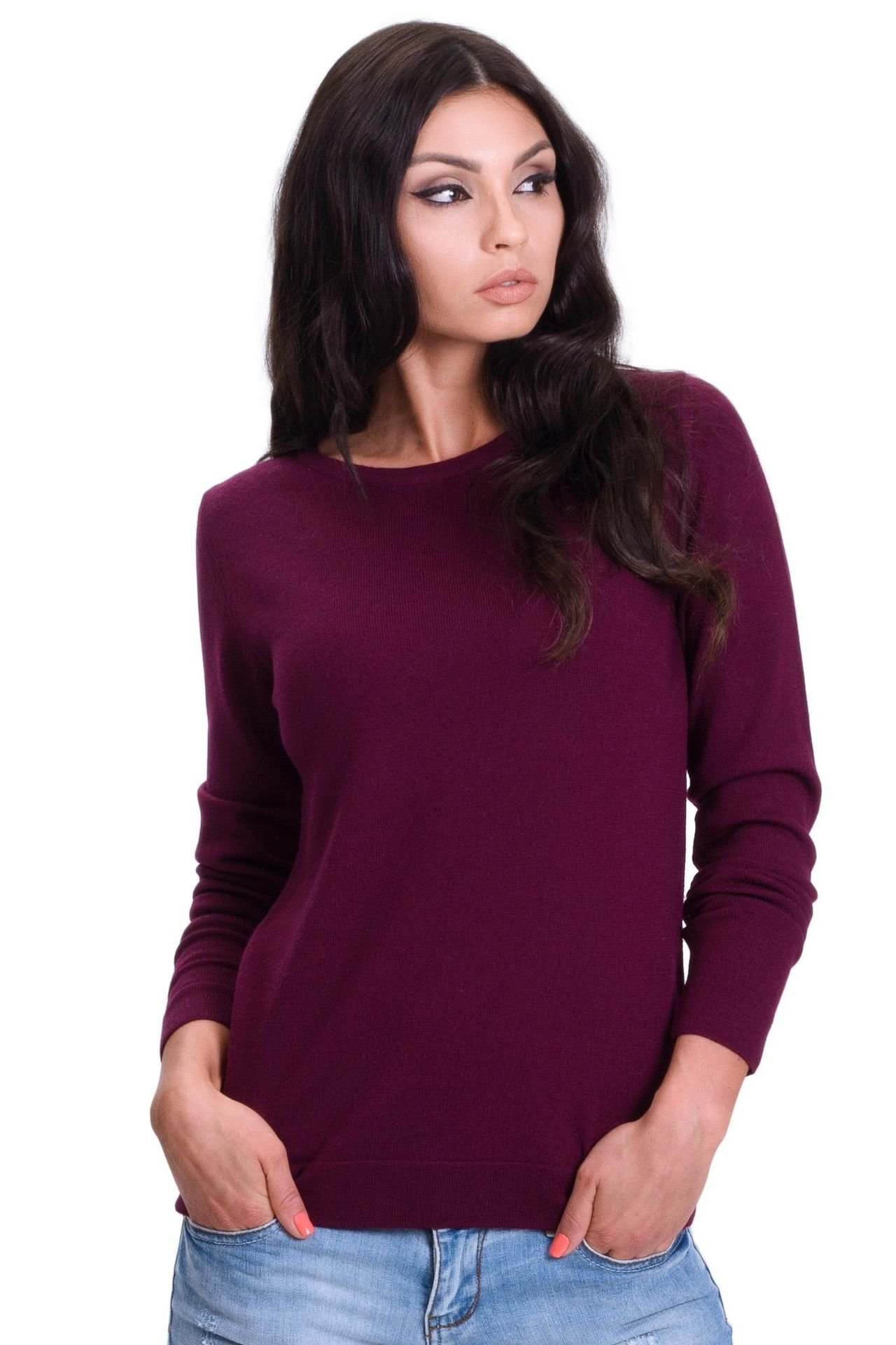 Women's Pure Merino Wool Classic Knit Top Lightweight Crew Neck Sweater Long Sleeve Pullover (Large, Burgundy)