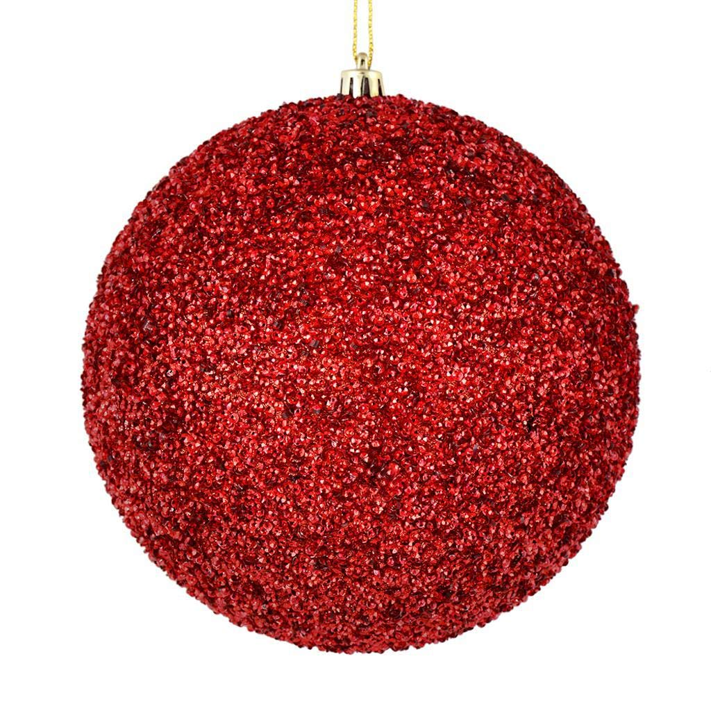 Vickerman 531747-4.75' Red Beaded Ball Christmas Tree Ornament (6 pack) (N185703D)