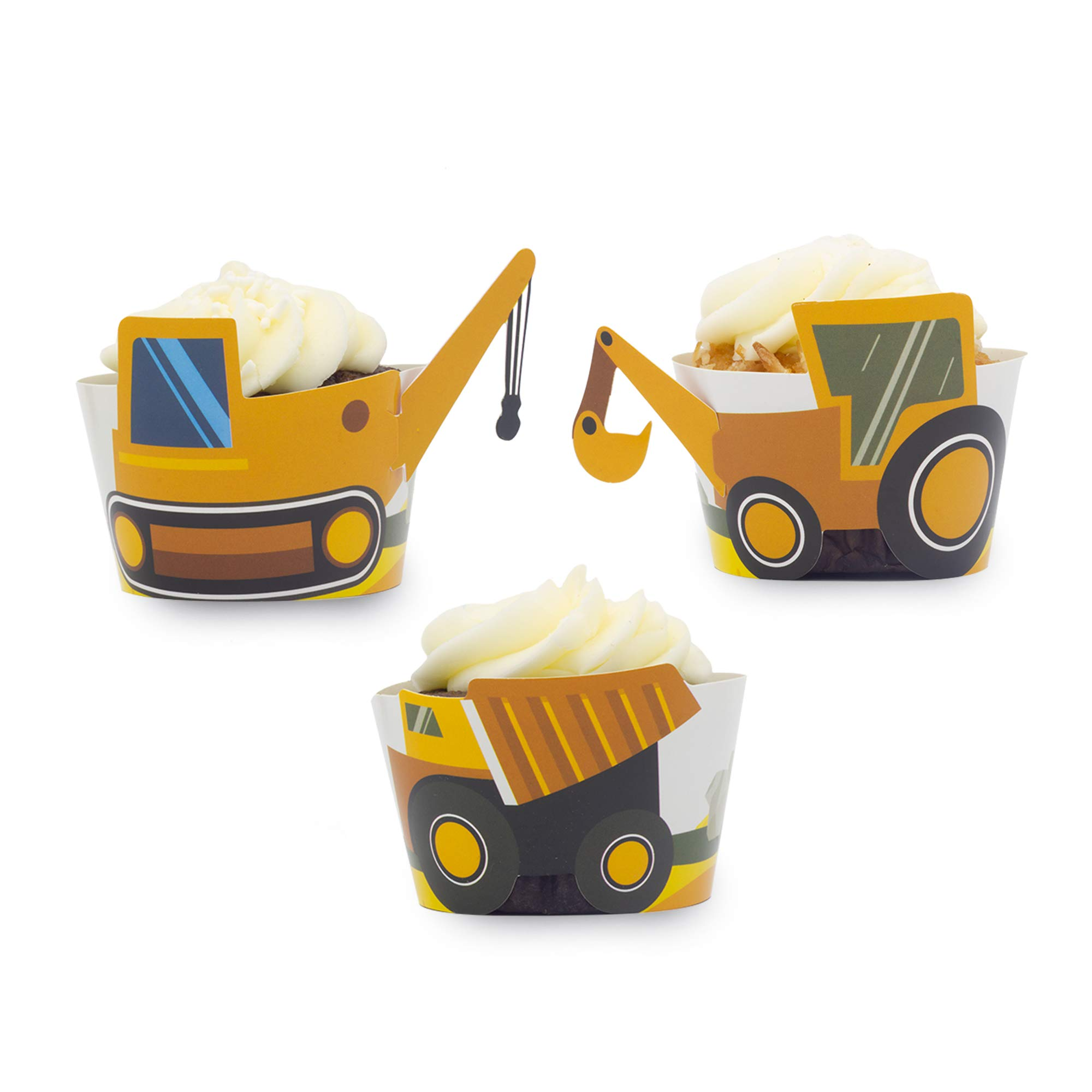 Construction Birthday Party Cupcake Wrappers- Set of 24 by Pop Fizz Designs
