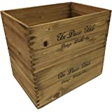 収納 木箱 アンティーク風ウッドボックス ※2個セット 【ブラウン】