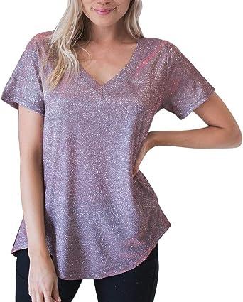 Costura Color de ContrasteTops Niña 12 Años Ronamick Botones Camisetas Rock Mujer Blusa Desigual Mujer Botones Camisa Blanca(Púrpura,L): Amazon.es: Iluminación