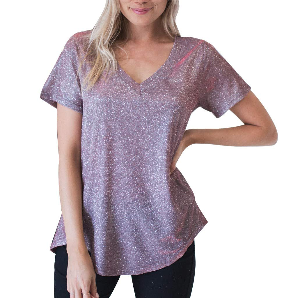Summer Womens Bling Bling Spakle Tops Blouse Ladies Casual Loose Short Sleeve T Shirt (Purple, S)