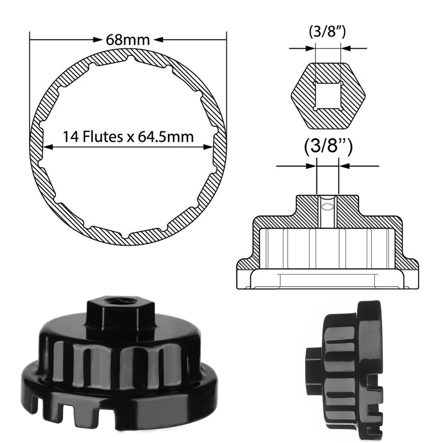 Tools Toyota Lexus Oil Filter Wrench For 25l To 57l 2011 Highlander Engine Diagram Engines Perfect Camry Rav4 Sienna Tundra And More Fits 64mm Cartridge