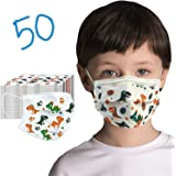 50 Pack Kids Disposable Face Mask - Girls & Boys Ships From Canada - Cute Design Kids Masks Disposable Fabric (Dino)