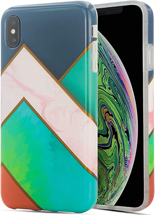 Apple iPhone Xs Max Phone Cases - Geometric Marble Design Soft TPU Covers - Silicone Shockproof Bumper Protective Screen and Camera -Green