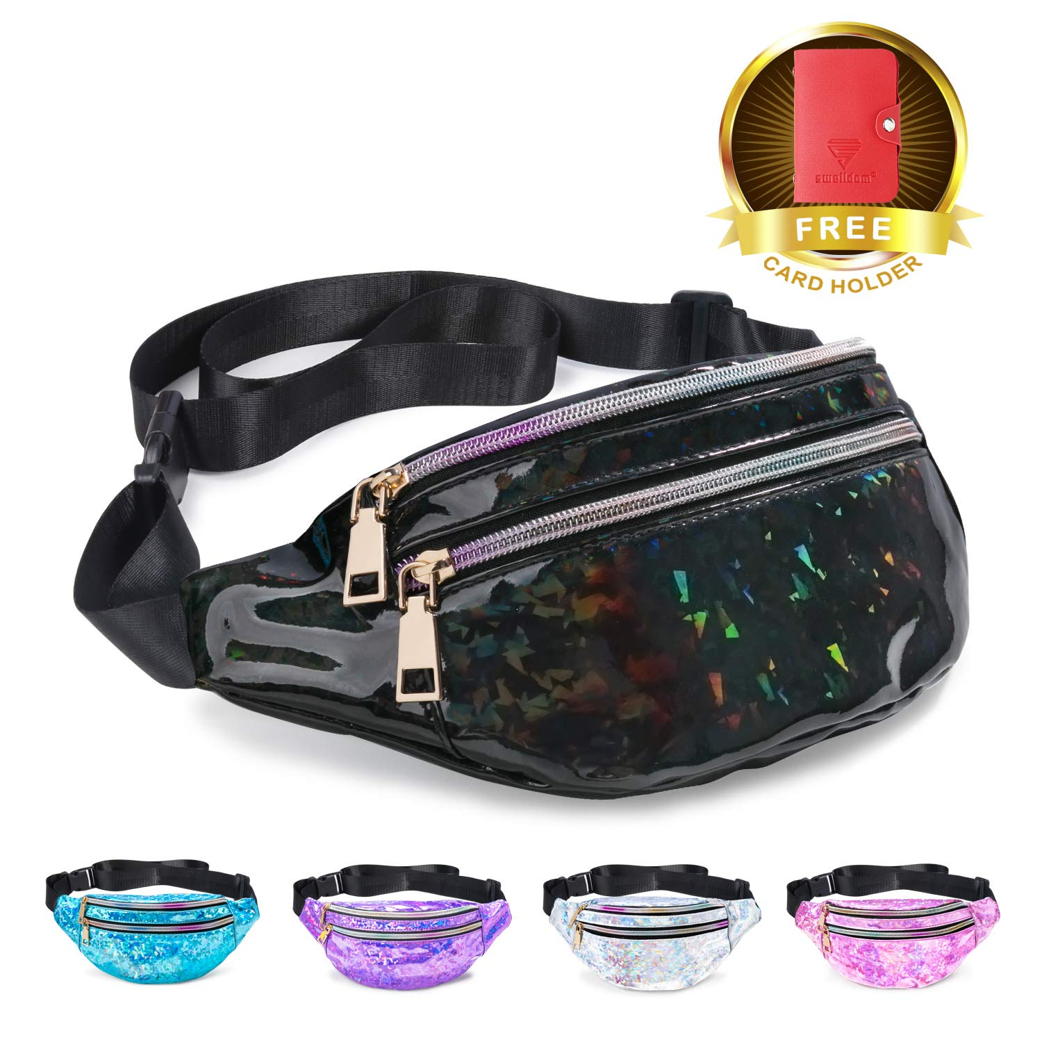 4aad4067c11b Fanny Pack Belt Bag, Holographic Fanny Packs for Women Men Kids, Fashion  Waterproof Waist Pack with 3 Pouches Adjustable Strap, Shiny Casual Bags  Cute ...