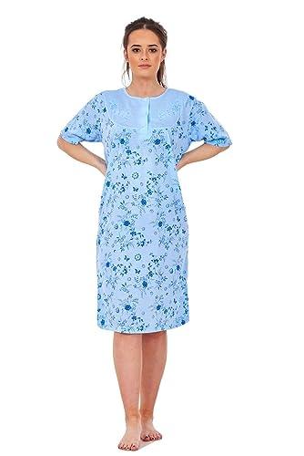 Bay eCom UK Ladies Nightwear Crew Neck Button Wild Floral Printed Short Sleeve Long Nightie