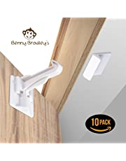 UPGRADED Invisible Baby Proofing Cabinet Latch Locks (10 Pack) - No Drilling or Tools Required for Installation, Universal for All Cabinets and Drawers, Works with Countertop Overhangs, Highly Secure - (WHITE)