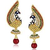 Sukkhi Peacock Gold Plated Australian Diamond Earrings for Women