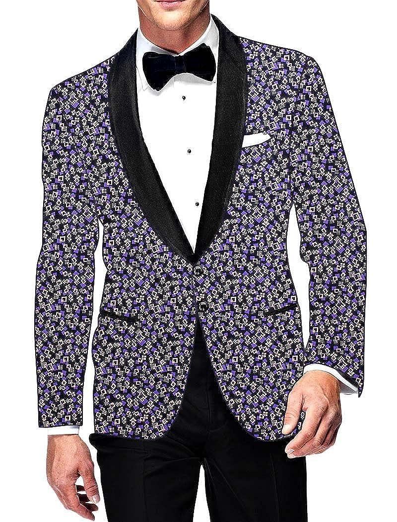INMONARCH Mens Slim fit Casual Black Printed Blazer Sport Jacket Coat for Wedding SB14441