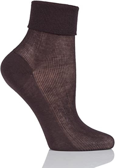 Ladies 1 Pair Charnos 100/% Cotton Comfort Top Socks