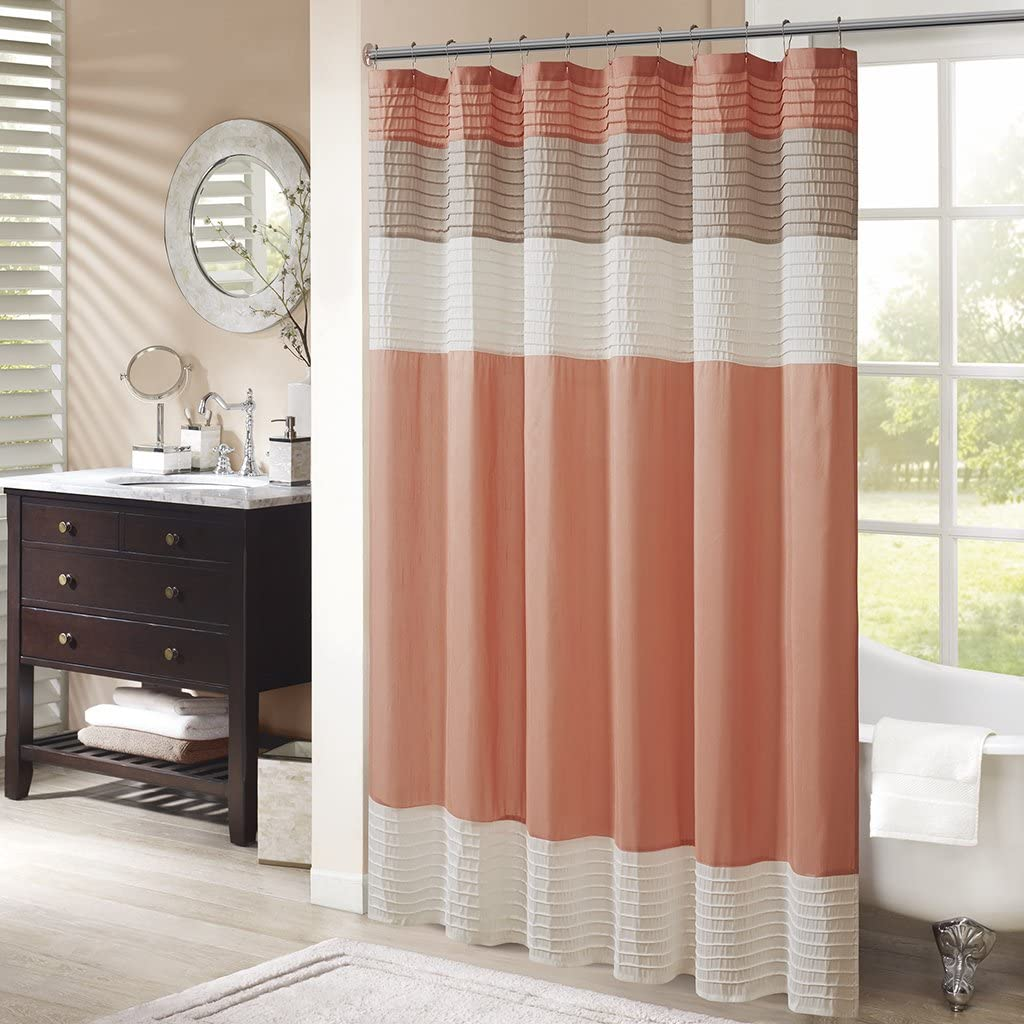 Madison Park Amherst Bathroom Shower Faux Silk Pieced Striped Modern Microfiber Bath Curtains, 72x72 Inches, Coral: Home & Kitchen