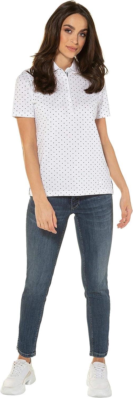 GINA LAURA Damen Shirt,Poloshirt mit Kleinen Punkten Polo Donna