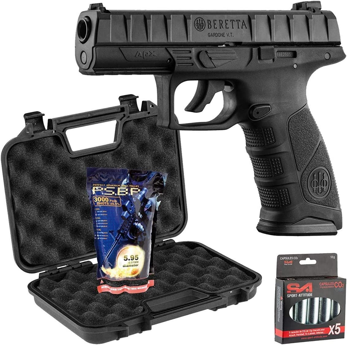 France Défense Pack Beretta APX 0,5J - Co2 + Mallette Noire + 5 Capsules De Co2 + 3000 Billes 0,25G G&G