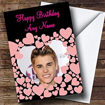 Justin Bieber Pink Hearts Personalised Birthday Card Amazoncouk Office Products