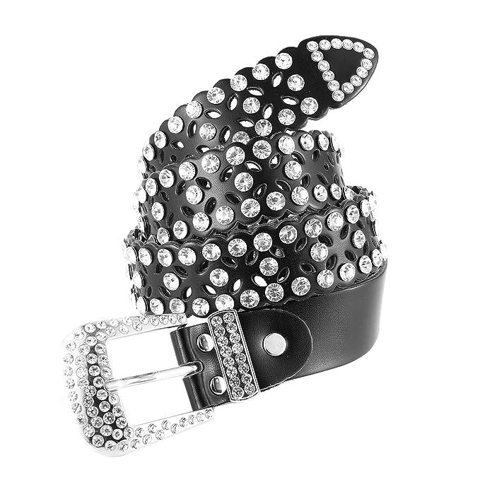 Amazon.com: HZMAN - Cinturón de piel para mujer con pedrería ...