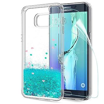 LeYi Compatible con Funda Samsung Galaxy S6 Edge Plus Silicona Purpurina Carcasa con HD Protectores de Pantalla,Transparente Cristal Bumper Telefono ...