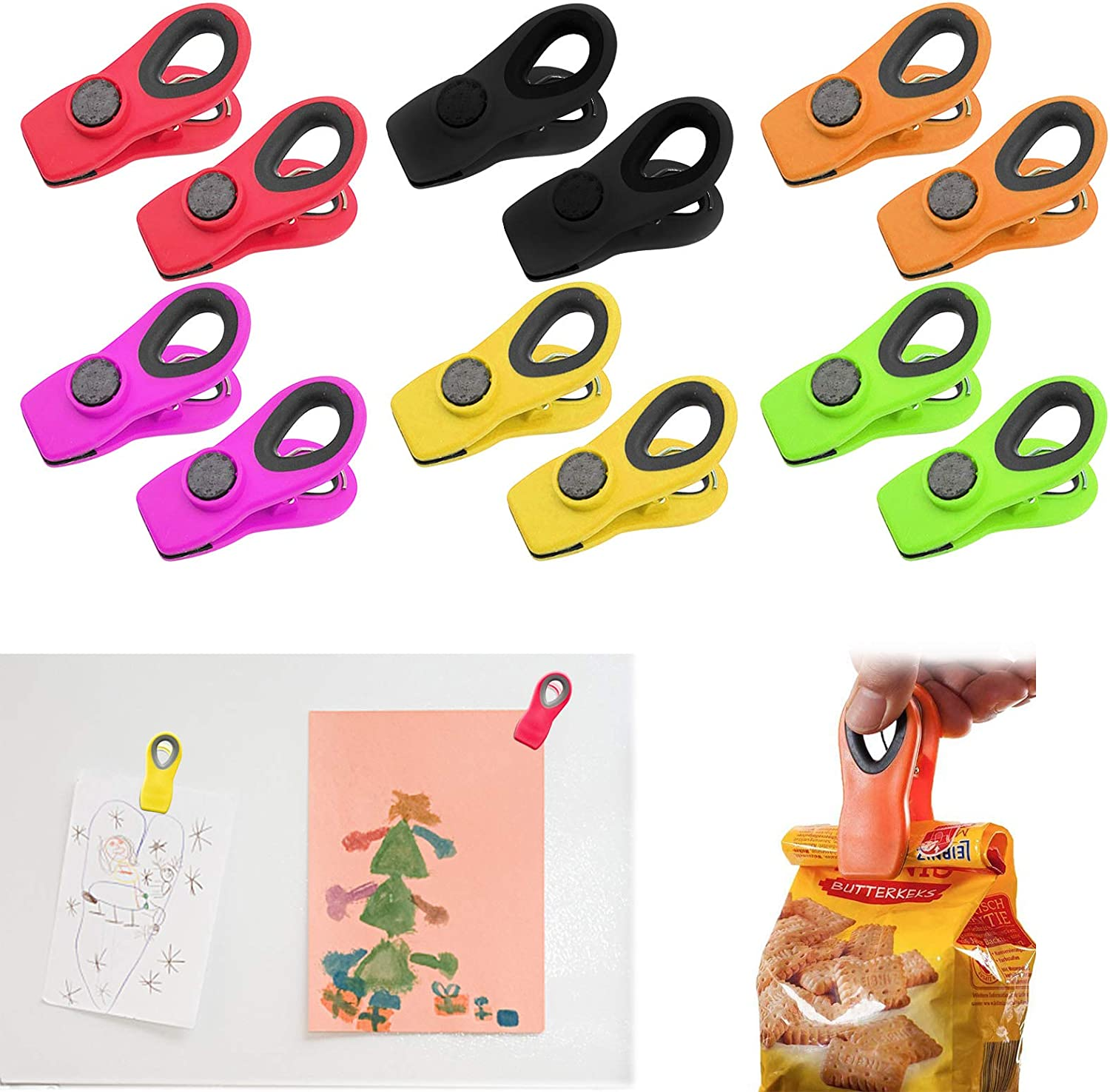 12 PCS Clips for Food Packages, Magnetic Chip Clips Bag Clips Food Clips, Chip Clips Magnetic, Multicolored Chip Clips for Food Storage Home Kitchen Office School Supplies