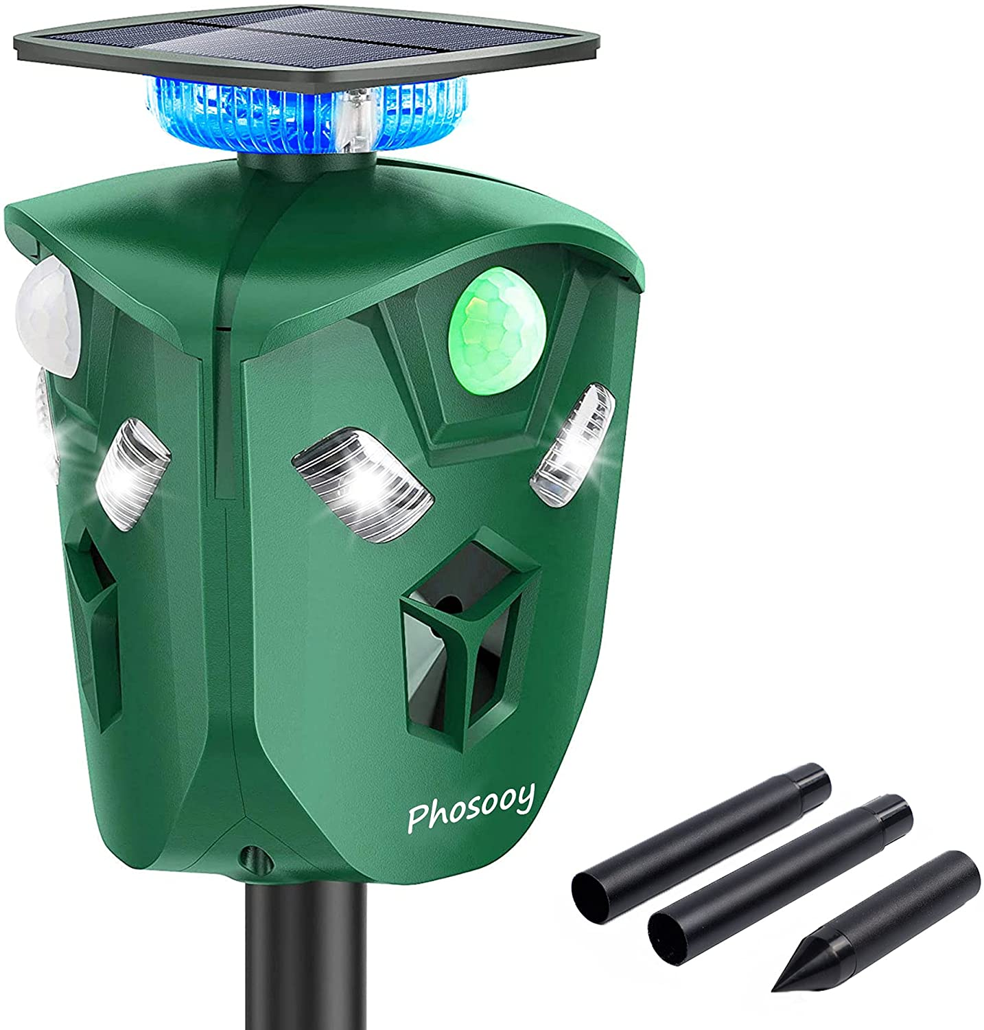 Phosooy Ultrasonic Animal Repeller, 360 Degree Solar Powered Rodent Repeller with Motion Activated Flashing LED Light, Repel Dogs, Wild Cat, Raccoon, Rabbit, Deer & More