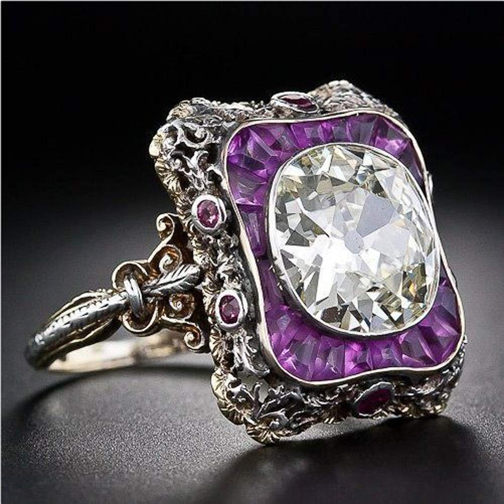 Aunimeifly Womens Exquisite Retro Amethyst Square Diamond Zircon Ring Punk Jewelry Gift