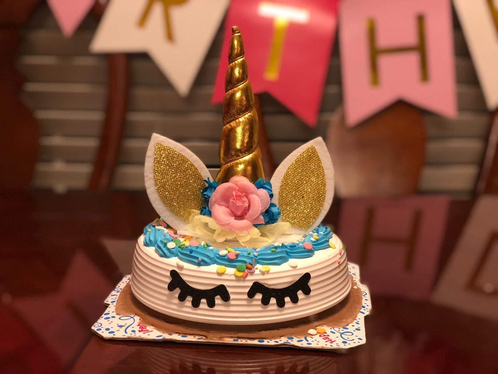 Palksky Handmade Gold Unicorn Birthday Cake Toppers Set. Unicorn Horn, Ears and Flowers Set. Unicorn Party Decoration for Baby Shower,Wedding and Birthday Party 10