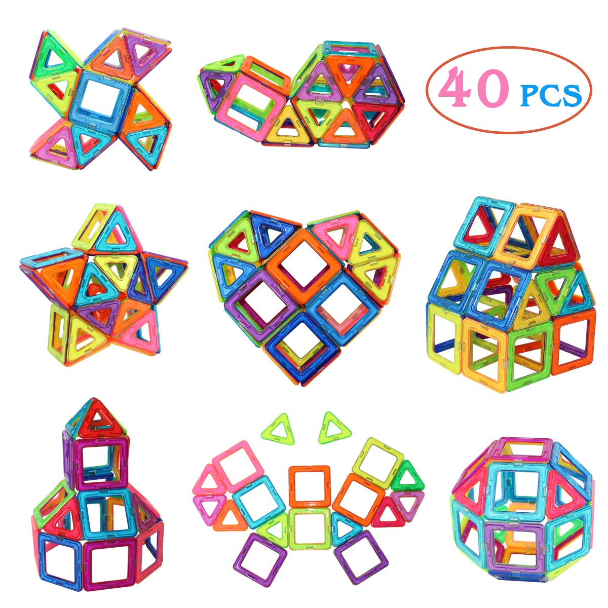 Manve 40 Pcs Magnet Building Tiles Clear Magnetic 3D Building Blocks Construction Playboards - Creativity Beyond Imagination, Inspirational, Recreational, Educational, Conventional