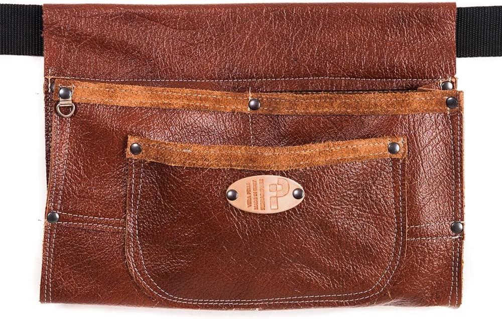 Romaña cosido - bolso de cuero genuino, Brown, cosido, remaches azulados, Cinturón incluido