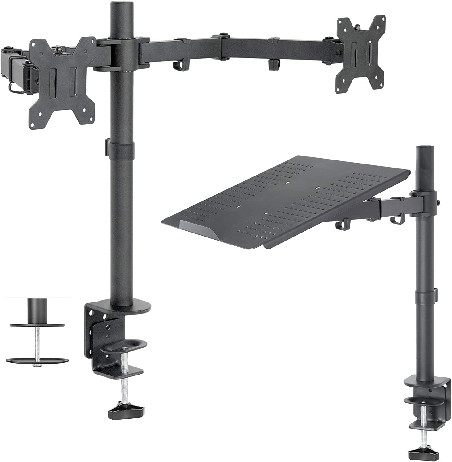 VIVO Dual 13 to 27 inch LCD Monitor Mount and Single Laptop Desk Mount Kit, Heavy Duty, Fully Adjustable Stand and Laptop Mount (Bundle)