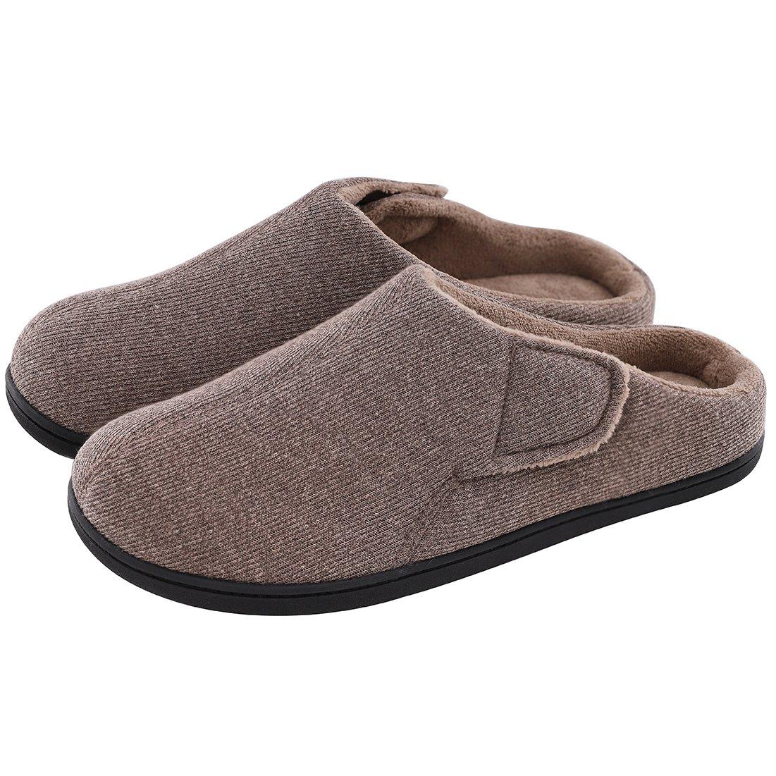 c0c0aa0d4a2075 ULTRAIDEAS Men s Comfort Memory Foam Terry Cloth Slippers Velcro Orthopedic House  Shoes