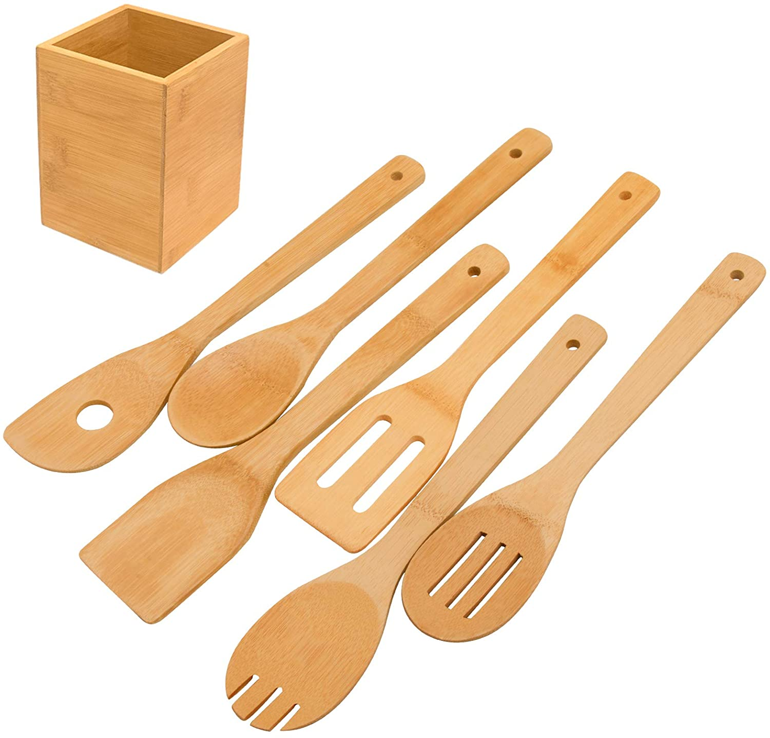 WOODEN SPATULA SPOON BAMBOO UTENSIL KITCHEN COOKING TOOLS LONG HANDLE MIX TOOL