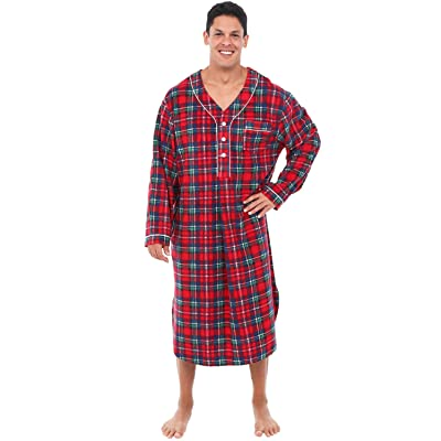 Alexander Del Rossa Men's Warm Fleece Sleep Shirt, Long Henley Nightshirt Pajamas at Men's Clothing store