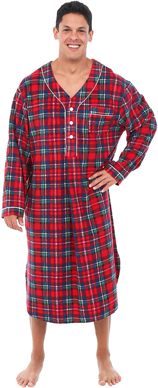 Alexander Del Rossa Men's Warm Fleece Sleep Shirt, Long Henley Nightshirt Pajamas