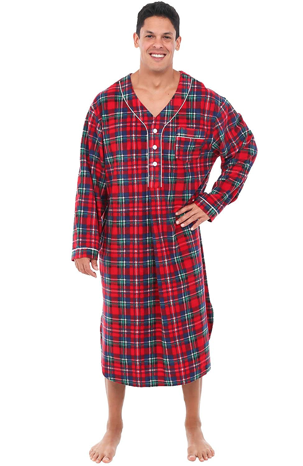 Alexander Del Rossa Mens Fleece Nightshirt, Long Warm Woven Kaftan A0329