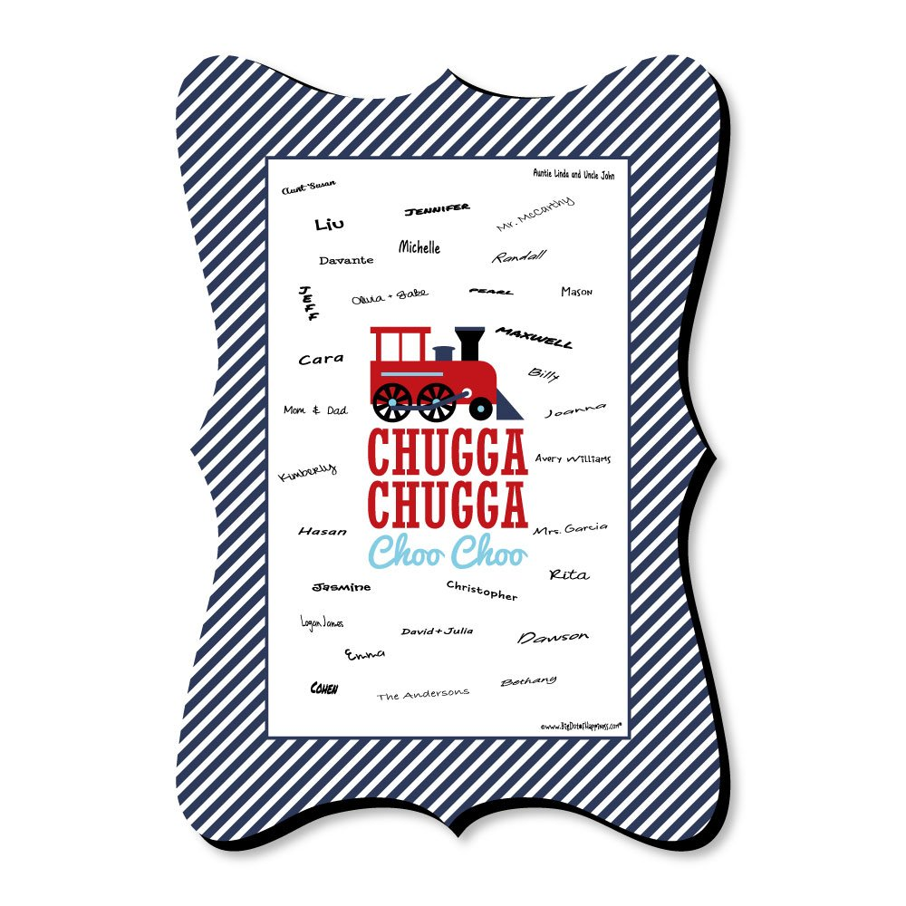 Big Dot of Happiness Railroad Party Crossing - Unique Alternative Guest Book - Steam Train Birthday Party or Baby Shower Signature Mat