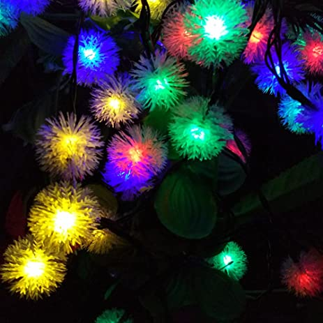 Snow Ball Outdoor Solar String Lights, 23ft 7M 50LEDs LED Fairy Globe  Christmas Lights Decorative
