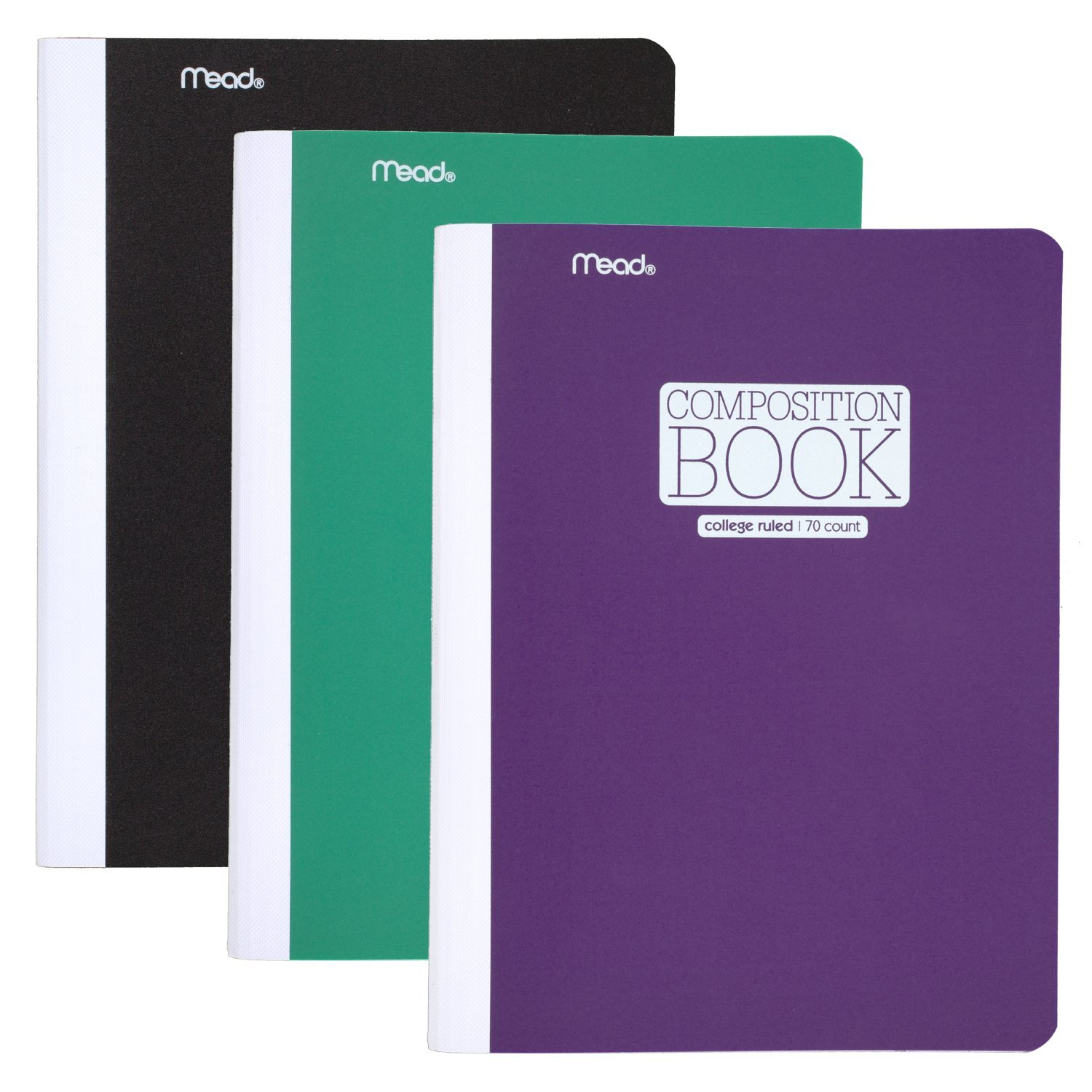 Mead Composition Book / Notebook, College Ruled Paper, 70 Sheets, Plastic, 9-3/4'' x 7-1/2'', Green, Black, Purple, 3 Pack (38977)