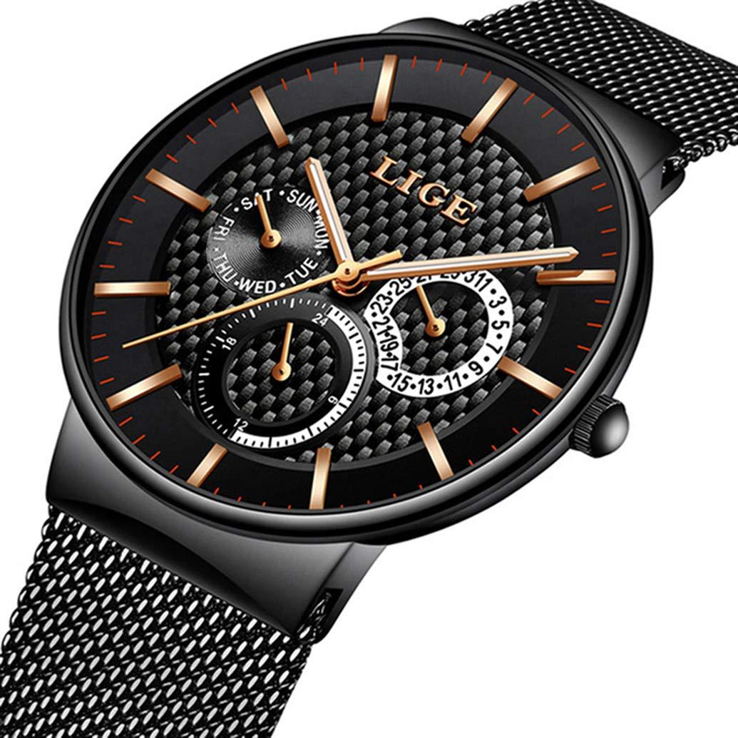 Relojes Hombres Deportes Cuarzo Analógico Cronógrafo Reloj Hombre Marca de Lujo LIGE Moda Cronómetro Fecha Reloj de Cuero Correa de Cuero Negro